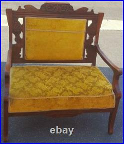 Gorgeous Antique Settee Upholstered Seat and Back GDC EXQUISITE DETAIL