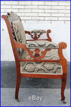 Gorgeous Arts & Crafts Cherry Settee on Casters, New Upholstery, 19th Century