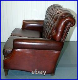 Gorgeous High Back Modern Brown Leather Chesterfield Style Sofa