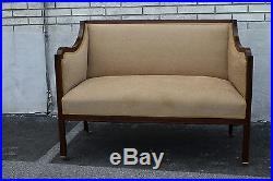 Grand 19th C. Inlaid English Regency Mahogany Spring Loveseat, Couch on Casters