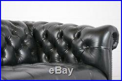 Green Leather Chesterfield-style Tutted Sofa