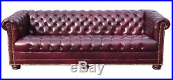 Hancock & Moore Chesterfield Tufted 87 Sofa in Red Oxblood Leather Bun Feet