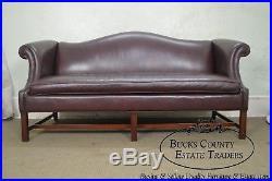 Hancock & Moore Mahogany Chippendale Style Leather Sofa