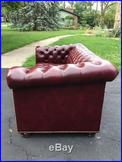 Hancock & Moore Tufted Chesterfield Loveseat in Red Oxblood Leather