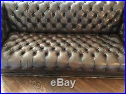 Hancock & Moore Tufted Chesterfield Parlor Sofa in Brown Leather