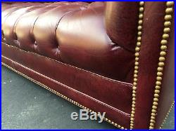 Hancock & Moore Tufted Chesterfield Sofa Loveseat in Red Oxblood Leather