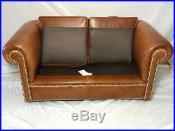 Handmade Cigar Faux Leather Chesterfield Art Deco Style 2 Seater Sofa Cognac