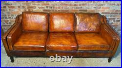 Heavily Patinated Tan Danish 1970 Three seater Mogensen Style Leather Sofa