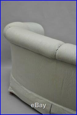 Henredon Schoonbeck Upholstered Curved Loveseat Short Sofa 66 Rolled Arms A
