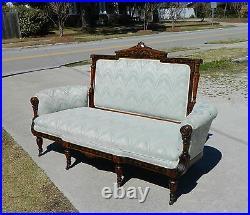 Herter Bros. Walnut Ebony Inlaid Sofa