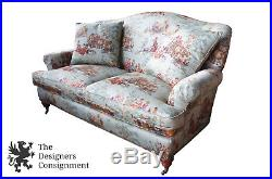 Hickory White Over Stuffed Camel Back Sofa Rolled Arms Loveseat Toile Fabric 72