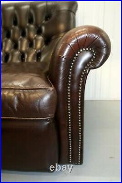High Back Vintage Brown Leather Chesterfield Sofa On Beautiful Scroll Arms