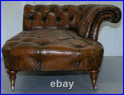 Howard & Son's Restored Brown Leather Chesterfield Chesterbed Walnut Framed