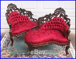 Important Victorian Belter Laminated Rosewood Tuthill King Pair Meridiennes