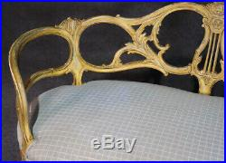 Incredible Open Carved French Creme Paint Decorated Settee Window Bench Sofa