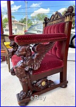 Intense R J Horner/karpen 2-piece Winged Griffin Palror Set/1880 Carved Mahogany