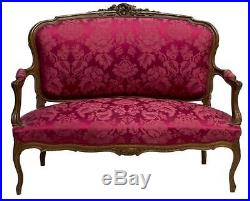 Italian Louis XV Style Carved Open Arm Settee, Antique