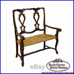 Italian Walnut Rush Seat Vintage Settee