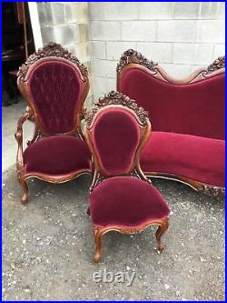 J. H. Belter Rosewood Laminated Rosalie With Grapes 5 Piece Parlor Set