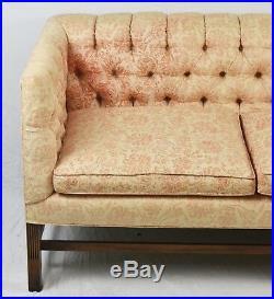 KITTINGER Mahogany Sofa with Tufted Peach Floral Upholstery