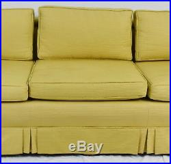 KITTINGER Mid Century Modern Mahogany Upholstered Sofa Gold Fabric with Skirting