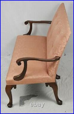 KITTINGER Williamsburg Mahogany Settee CW-154 Silk Rose Schumacher Damask Fabric