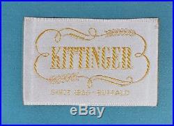 Kittinger Camel-Back Tuffed Sofa, Mahogany Chippendale Williamsburg Style Damask