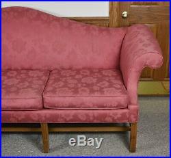 Kittinger Historic Newport Mahogany Chippendale Sofa Red Damask Fabric HN 11-1