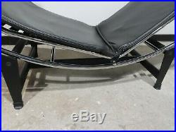 LE CORBUSIER LC4 BLACK LEATHER CHAISE LOUNGE CHAIR mid century modern