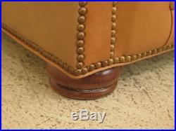 LF38741EC Tan Leather Tufted Chesterfield Sofa w, Tack Head Trim