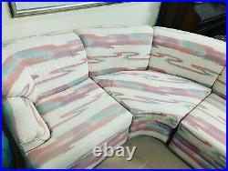 L Sharpe 80s Vintage Sofa Purple Pink Turquoise On A Cream