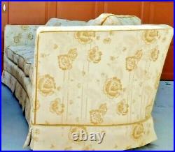 Large Antique/Vtg Drexel Heritage Ivory Gold Upholstered Living Room Couch Sofa