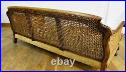 Large Antique style carved bergere cane 3 seater sofa settee