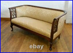 Large Antique style carved bow back sofa settee