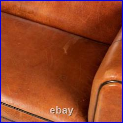 Late 20th Century Art Deco Style Dutch Two Seater Sheepskin Leather Sofa