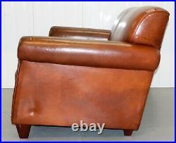 Laura Ashley Burlington Tetrad Brown Two Saeter Leather Sofa