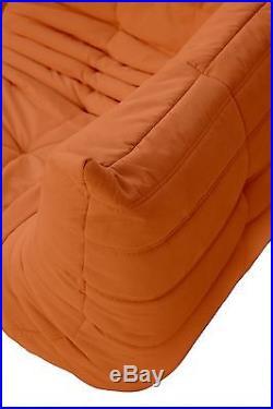 Ligne Roset TOGO Set-1x3,1x2,1 Seat, corner, pouffe, new ORANGE microfiber/suede