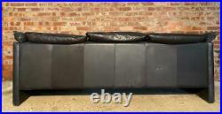 Long Vintage Retro Danish 1970 Three seater Black Leather Sofa
