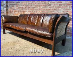 Long Vintage Thams Kvalitet 1970 Patinated Tan Leather Three seater Sofa