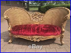 Louis XVI Sofa/love Seat/settee With Red Velvet Worldwide Shipping