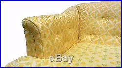 Louis XV Style Tufted Sofa in Lemon Yellow