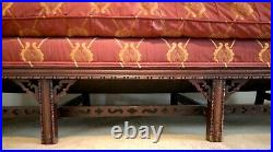 Lovely Antique Chinese Chippendale Camelback Sofa With Fretwork And Down Cushion