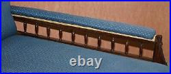 Lovely Early Victorian Carved Mahognay Chaise Lounge Regency Blue Upholstery