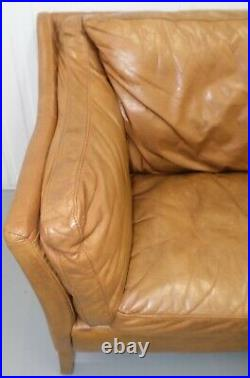 Lovely Halo Reggio Conker Leather Light Brown Two Seater Sofa Rrp£2090