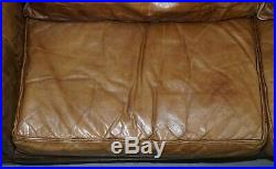 Lovely Ralph Lauren Aged Style Brown Heritage Thick Leather Sofa Stunning Patina