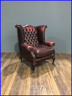 Lovely Twice Loved Leather Chesterfield Chair Rich Deep wine