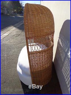 Loveseat Sofa Settee Dome Canopy Porter Chair Peacock Fan Chic Regency  Wicker