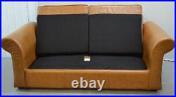 Luxury Laura Ashley Golden Tan Leather 2 Seater Sofa Bed/ Armchair Available