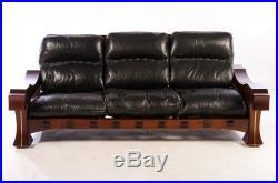 MID Century Modern Luciano Frigerio Solid Mahogany And Down Filled - Mahogany leather sofa