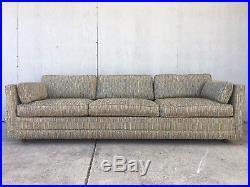 MID Century Modern Tuxedo Sofa Couch Blue Green Variegated 60s 70s 8u2032 Xlnt